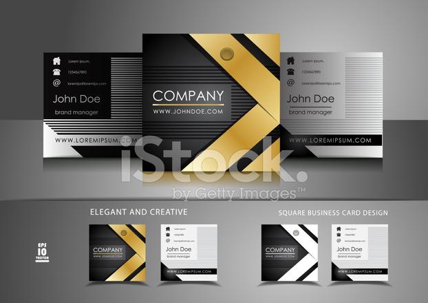 Elegante Quadratische Visitenkarten Design Stock Vector