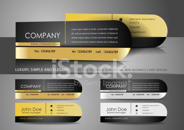 Einseitig Gerundet Mini Visitenkarten Design Stock Vector