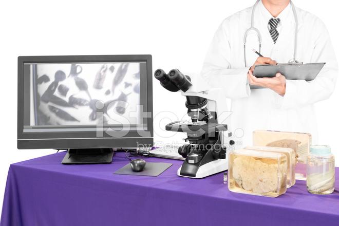 Nowoczesny mikroskop z lekarzem z wątroby fluke zdjęcia ze zbiorów