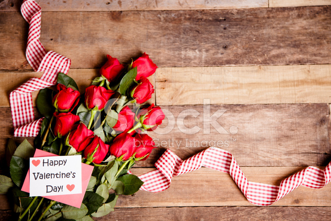 Happy Valentines Day Red Roses Bouquet Notecard Ribbon