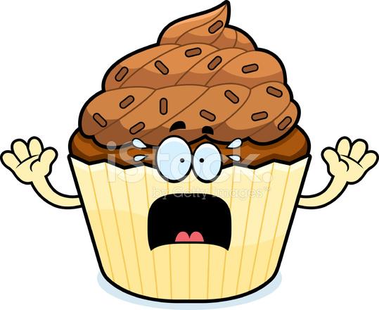 Miedo Chocolate Cupcake De Dibujos Animados Stock Vector