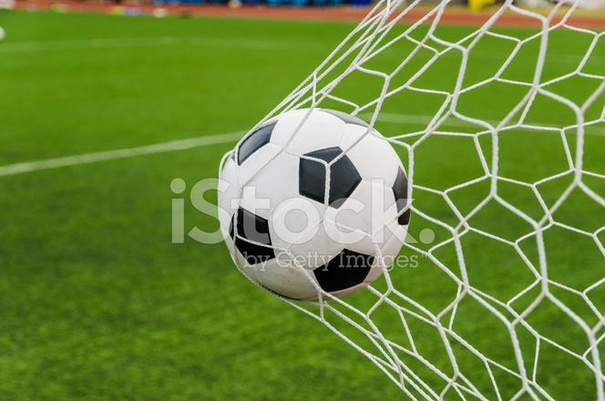 e6ffd4db5 Soccer Football IN Goal Net With Green Grass Stock Photos ...