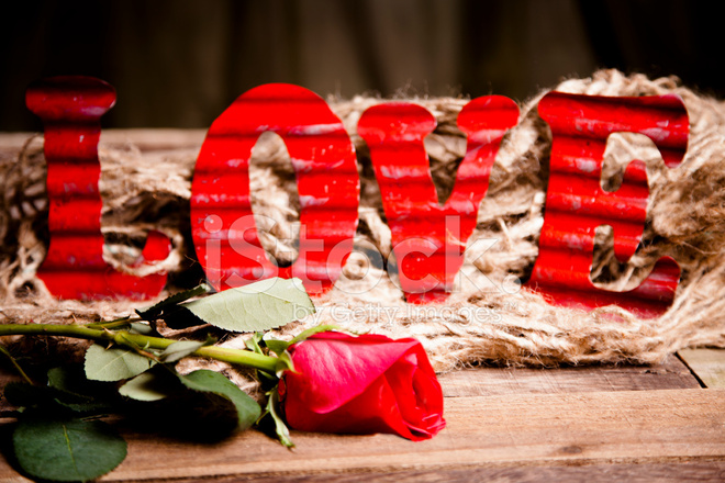 Premium Stock Photo Of Valentineu0027s Red, Tin Letters Spell Love, Rose Rusti