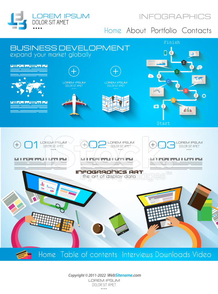modern website template with flat style infographics layout stock