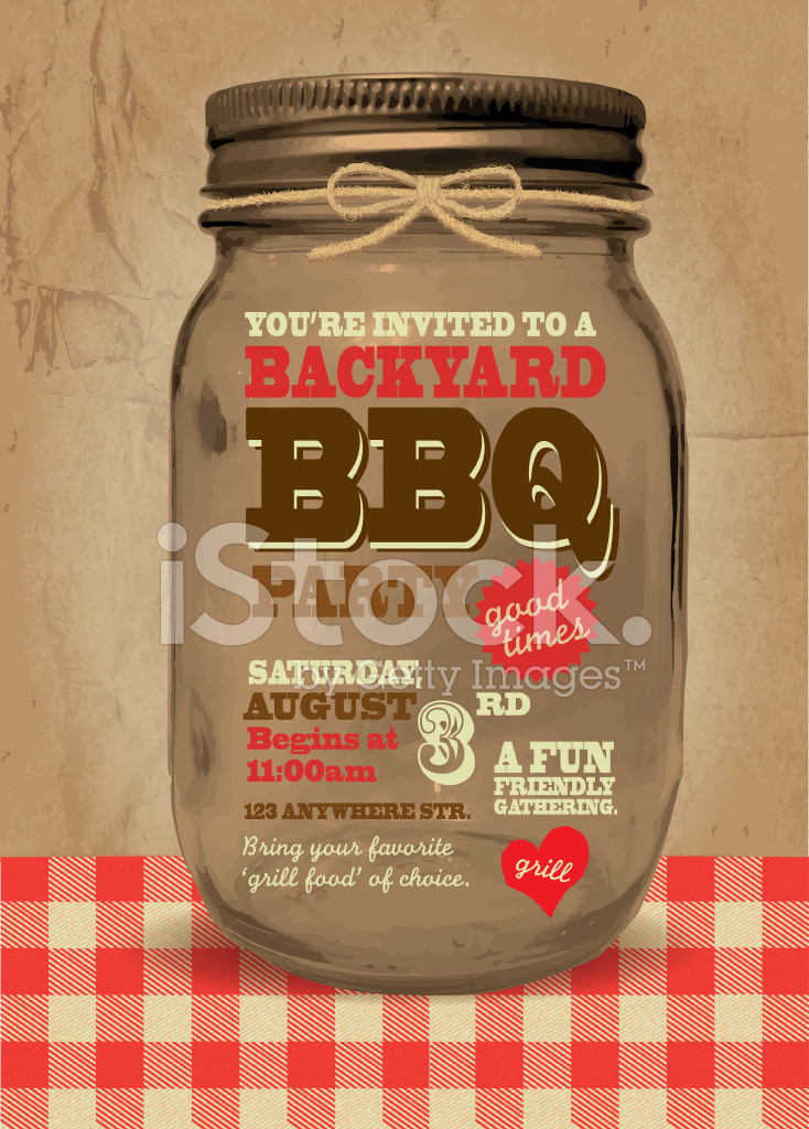 Mason Jar Bbq Picnic Invitation Design Template Stock Vector