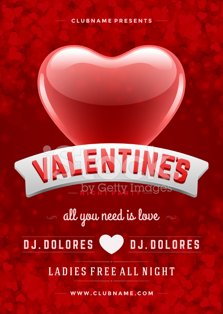 happy valentines day party poster design template - Valentine Poster