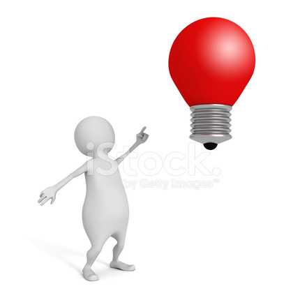 3d Man Pointing On Red Concept Idea Lightbulb