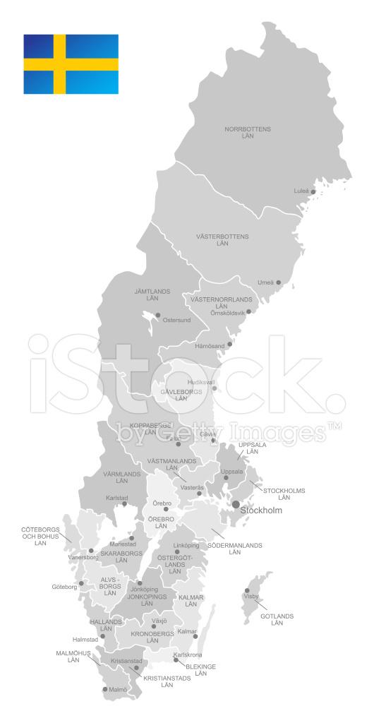 Detaljerad Vektor Karta 214 Ver Sverige Stock Vector