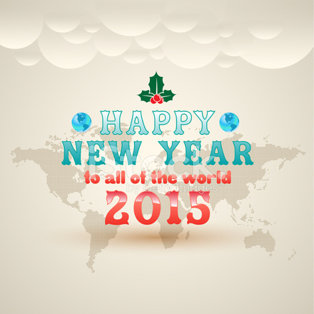 Frohes Neues Jahr AN Alle Von Der Welt Grußkarte Stock Vector ...