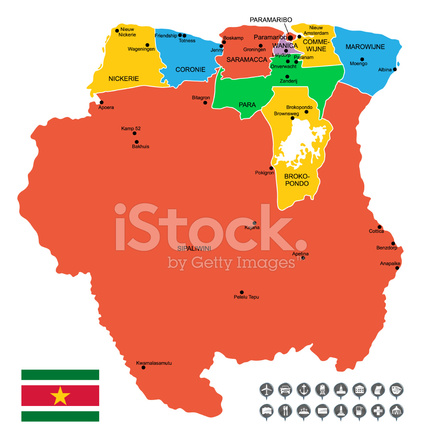 Detailed Vector Map of Suriname Stock Vector FreeImagescom