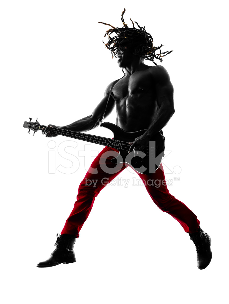 African man guitarist bassist player playing silhouette for American cuisine movie download