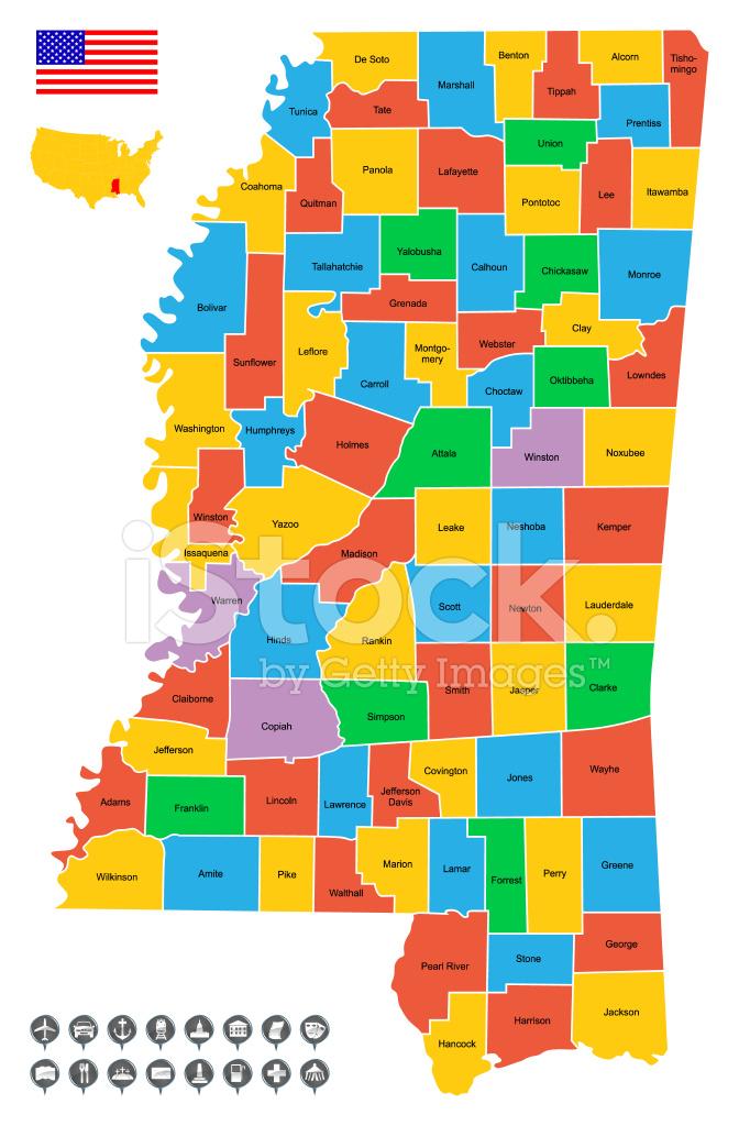 Mapa Detallado Vector De Mississippi Stock Vector Freeimages Com