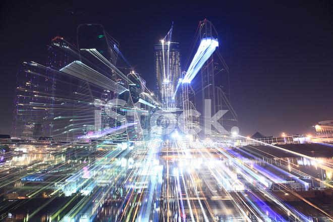 Arka Plan Bulanıklık Bokeh şehir Işıkları Gece Stok Fotoğrafları