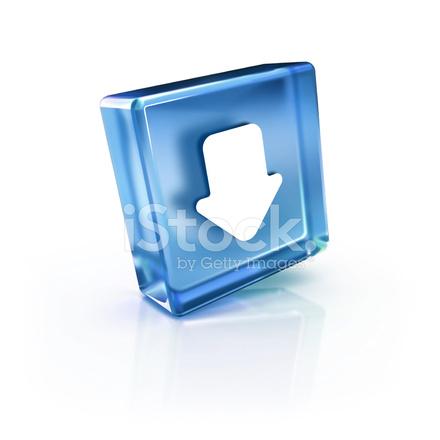 Glass Transparent Icon Of Down Arrow Symbol Stock Photos