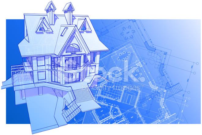 Haus 3d Technisches Konzept Zeichnen Stock Vector Freeimages Com
