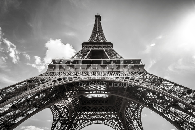 Eiffel Tower Images Black And White: Eiffel Tower Paris IN Black And White Stock Photos