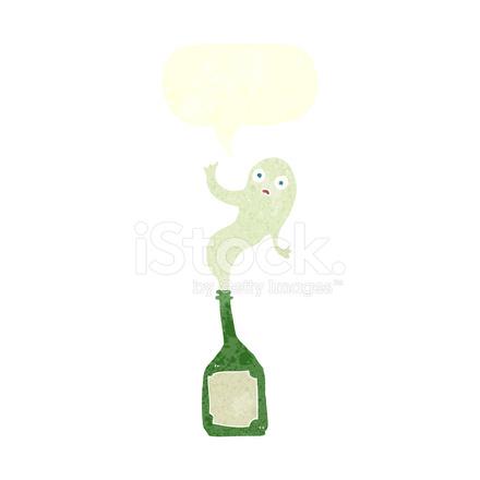 Fantasma di cartone animato in bottiglia con nuvoletta stock