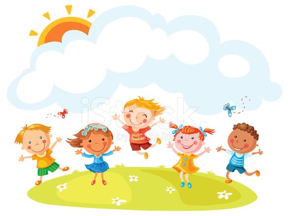 Feliz De Dibujos Animados Niños Saltando Stock Vector Freeimagescom