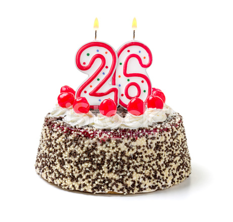 Birthday Cake With Burning Candle Number 26 Stock Photos