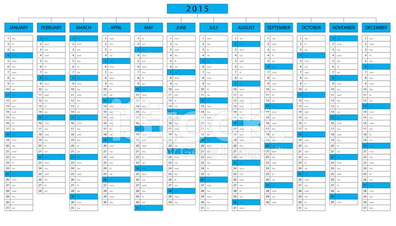 Calendario Anno 2015.Calendario Di Colonna Per L Anno 2015 Stock Vector
