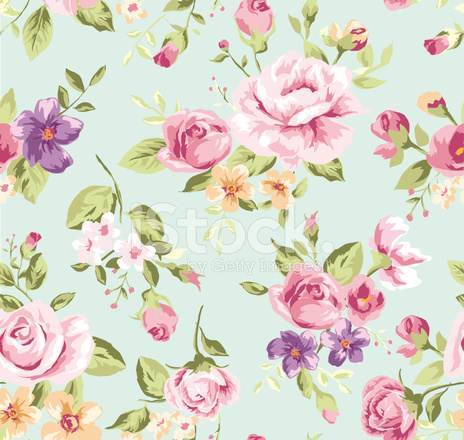 Seamless Wallpaper Vintage Rose Pattern Background Stock