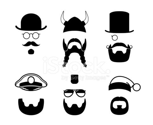Silhouettes Parts Of Mustache Beard Viking Captai Stock Vector