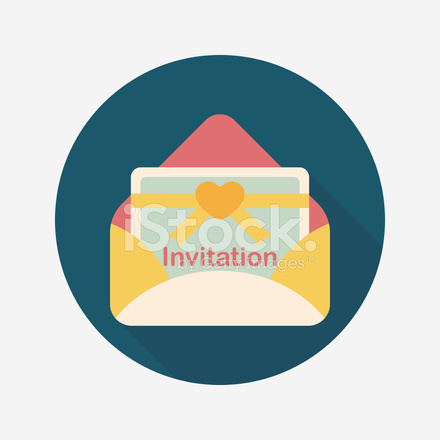 wedding invitation flat icon with long shadow eps10 stock