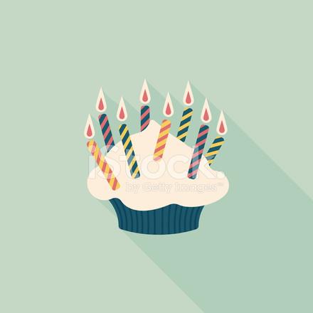 Candle On Birthday Cake Ilustration