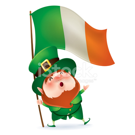 leprechaun holding flag of ireland stock vector - freeimages