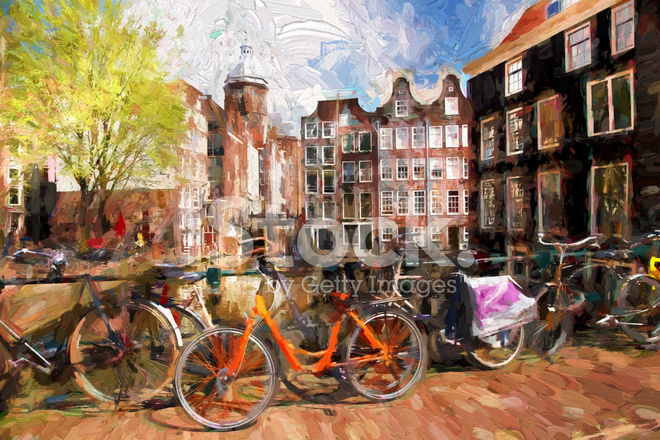 amsterdam city in holland artwork in painting style stock photos. Black Bedroom Furniture Sets. Home Design Ideas