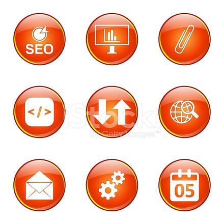 Seo 互联网标志橙色矢量按钮图标设计设置
