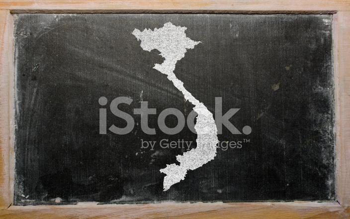 Outline Map of Vietnam on Blackboard Stock Photos - FreeImages com