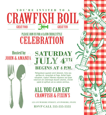 image relating to Crawfish Boil Invitations Free Printable named Crawfish Boil Invitation Style Template Inventory Vector