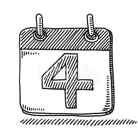 Numero Do Dia Simbolo De Calendario Desenho 4 Stock Vector