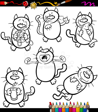 Gatos Set Libro Para Colorear De Dibujos Animados Stock Vector