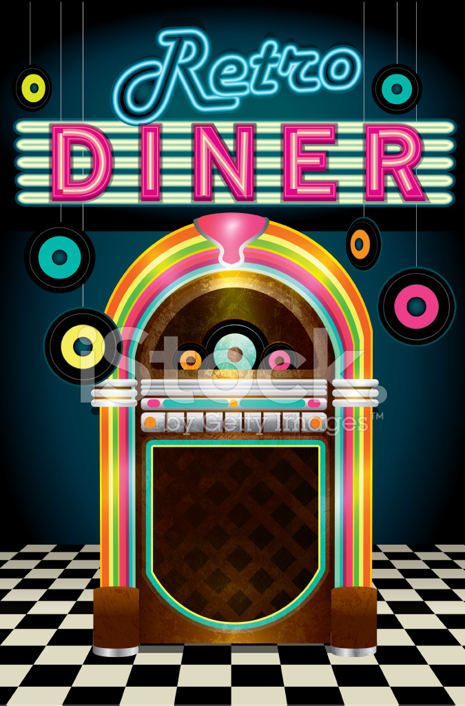 Late Night Retro 50s Diner Menu Layout With Jukebox Stock