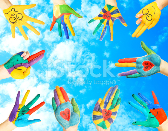 painted child s hands stock photos freeimages com