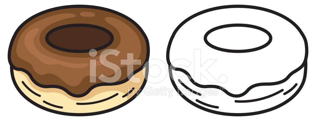 Donut Colorido Y Blanco Y Negro Para Colorear Libro Stock Vector ...