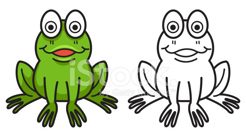 Boyama Kitabı Için Renkli Ve Siyah Beyaz Kurbağa Stock Vector