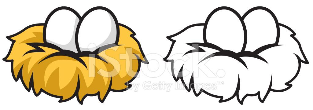 Renkli Ve Siyah Beyaz Yumurta Ve Yuva Stock Vector Freeimagescom