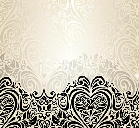 Hochzeit Vintage Floral Einladung Hintergrunddesign Stock Vector