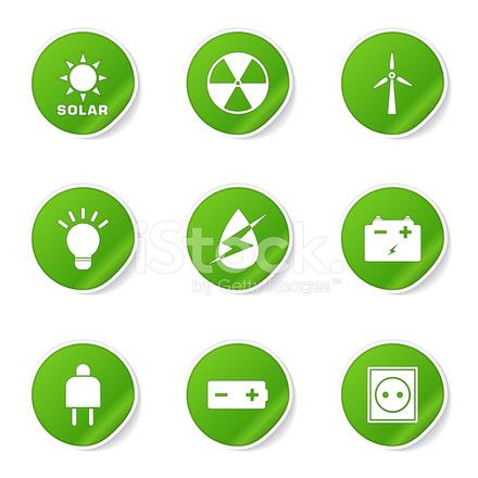 Energie Zeichen UND Symbol Symbol Der Grüne Vektor Button Stock ...
