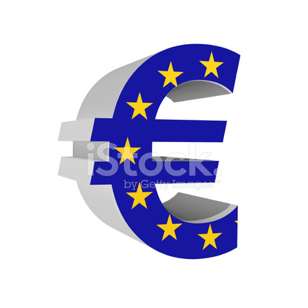 Euro Symbol With Europion Union Flag 3d Isolated On White Stock