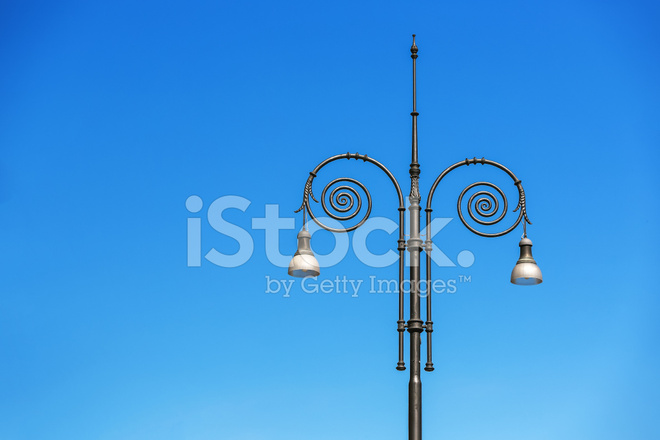 vintage street lamps in the blue sky stock photos freeimages com