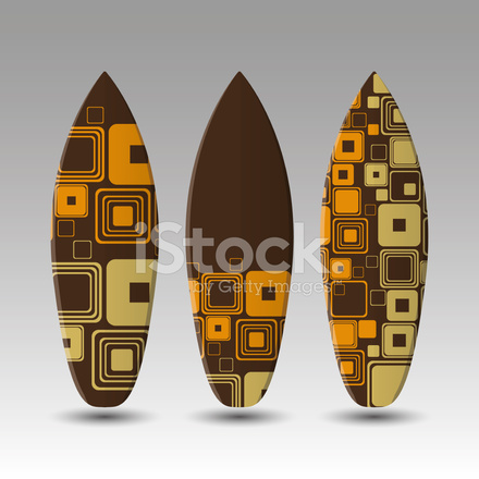 Vector Surfboards Design Template With Abstract Pattern Stock Vector