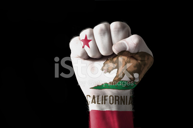 fist painted in colors of us state of california flag stock photos