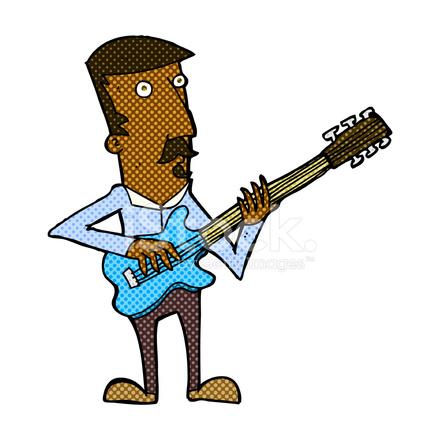 Komik Karikatür Adam Elektro Gitar çalmak Stock Vector Freeimagescom