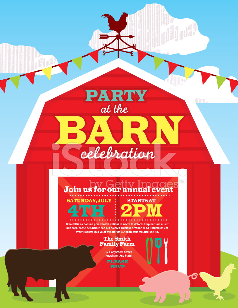 Cute Barn and Farm Animal Party Invitation Design Template stock – Farm Party Invitations