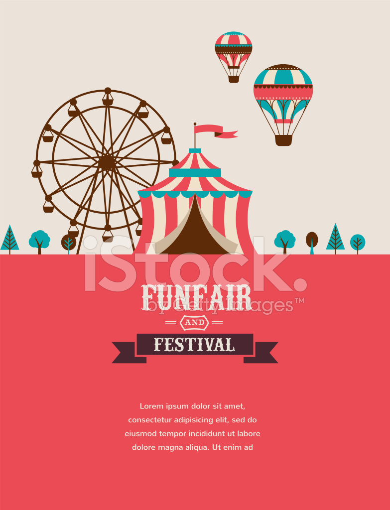 vintage poster with carnival fun fair circus vector background stock