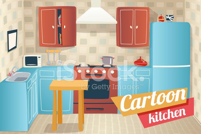 Cucina mobili accessori interni cartoon appartamento casa r stock